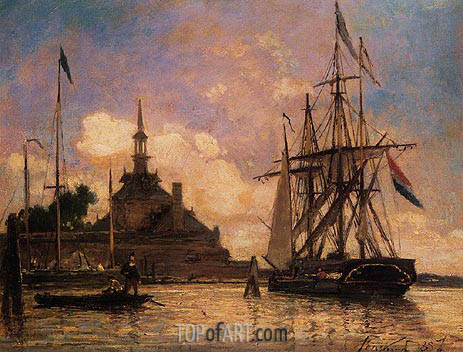 The Port of Rotterdam, 1857 | Jongkind | Painting Reproduction
