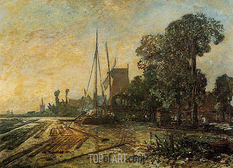 Windmill near the Water, 1860 | Jongkind | Painting Reproduction