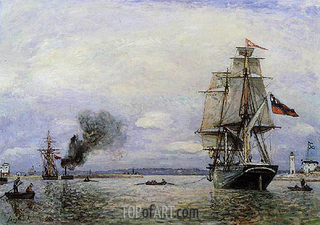 Leaving the Port of Honfleur, 1865 | Jongkind | Painting Reproduction