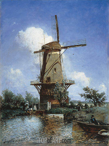 A Windmill near Delft, 1857 | Jongkind| Painting Reproduction