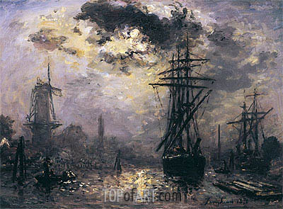 View of the Port (The Windmills in Rotterdam), 1870 | Jongkind | Painting Reproduction