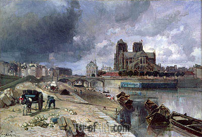 Notre-Dame from the Quai de la Tournelle, 1852 | Jongkind| Painting Reproduction