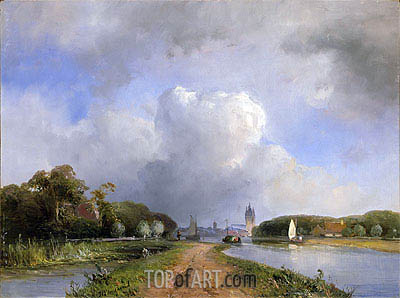 View of the Vliet near Delft, 1844 | Jongkind| Painting Reproduction