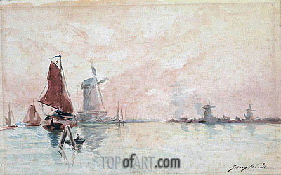 Boats on a Canal and Windmills near Dordrecht, undated | Jongkind| Painting Reproduction