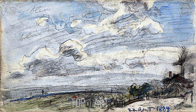 Houses with a View into the Distance, 1888 | Jongkind| Painting Reproduction