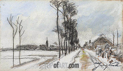 Road Leading into a Village, c.1855 | Jongkind| Painting Reproduction