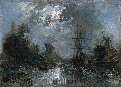 Harbor by Moonlight, 1871 | Jongkind | Gemälde Reproduktion