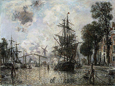 Harbor Scene in Holland, 1868 | Jongkind| Painting Reproduction