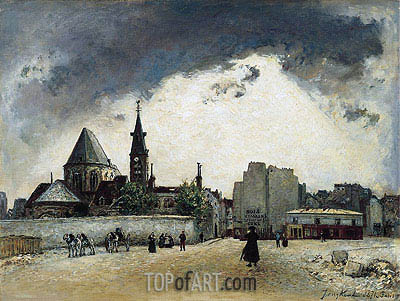 The Church of St. Medard on the Rue Mouffetard, 1871 | Jongkind | Painting Reproduction