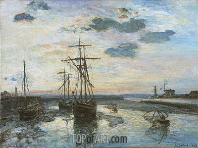 Port of Honfleur at Evening, 1863 | Jongkind| Painting Reproduction