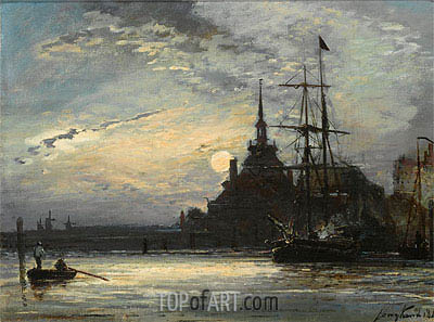 Sunset at the Hoofdpoort, Rotterdam, 1861 | Jongkind | Painting Reproduction