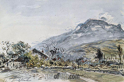 A Chalet in a Mountainous Landscape, 1882 | Jongkind| Painting Reproduction