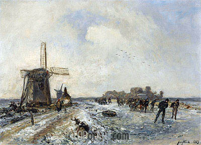 Skaters on a Frozen Waterway, 1863 | Jongkind | Painting Reproduction
