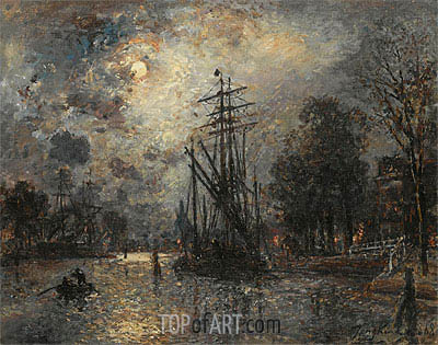 Sailing Boat in Moonshine, Holland, 1868 | Jongkind| Painting Reproduction