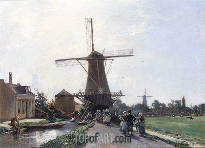 Promenade at the Edge of the Channel, Holland, 1856 | Jongkind| Painting Reproduction