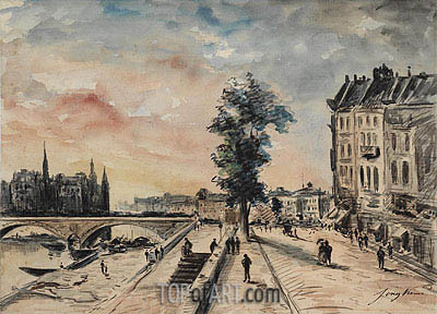 Quai on the Seine, Paris, undated | Jongkind| Painting Reproduction