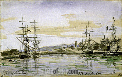 Harbor Scene, 1865 | Jongkind | Painting Reproduction
