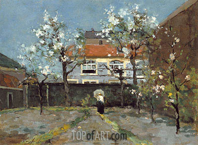 Back Garden at the Kazernestraat, The Hague, c.1890 | Johan Hendrik Weissenbruch | Painting Reproduction
