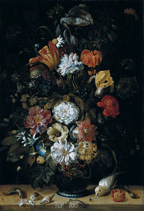 Bouquet of Flowers with Animals, 1704 | Johann Adalbert Angermeyer | Painting Reproduction