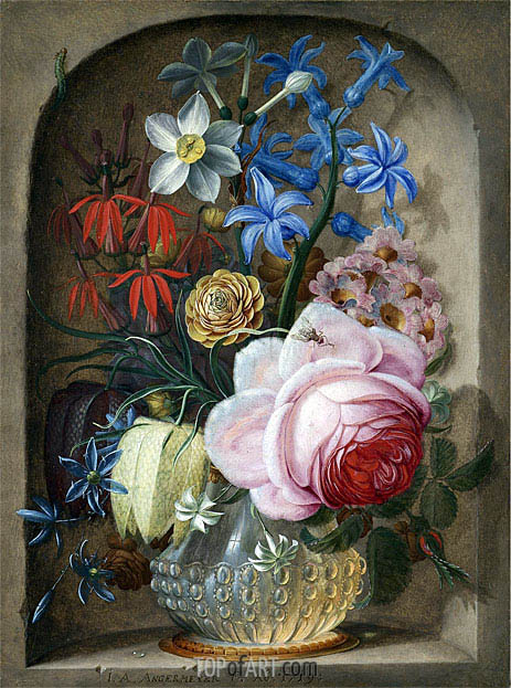 Flowers in a Vase in a Stone Niche, 1719 | Johann Adalbert Angermeyer| Painting Reproduction
