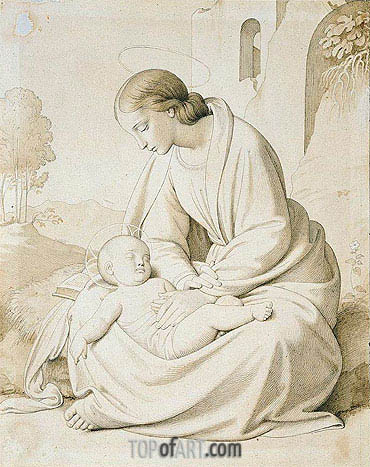 The Madonna and Child in a Landscape, undated | Overbeck| Gemälde Reproduktion