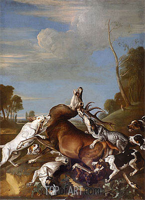 Deer Persecution, 1710 | Johann Georg Hamilton | Painting Reproduction