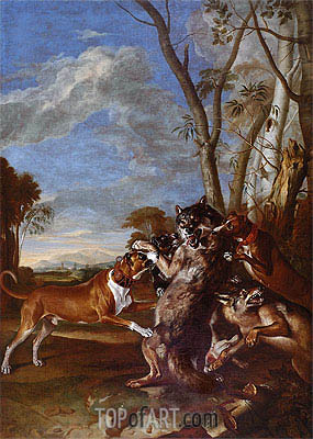 Wolf Persecution, Undated | Johann Georg Hamilton | Painting Reproduction