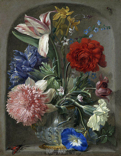 Flowers in a Vase in a Stone Niche, 1693 | Johann Rudolf Byss | Painting Reproduction
