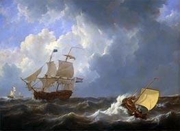 Schiffe auf Rauer See, 1826 von Johannes Schotel | Gemälde-Reproduktion