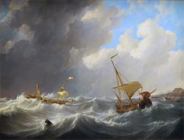 Storm on the Sea | Johannes Schotel | Painting Reproduction