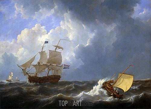 Ships on a Rough Sea, 1826 | Johannes Schotel | Painting Reproduction