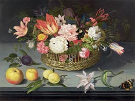 Basket of Flowers, undated by Johannes Bosschaert | Painting Reproduction
