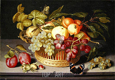 Still Life with a Basket of Fruit, 1627 | Johannes Bosschaert| Painting Reproduction