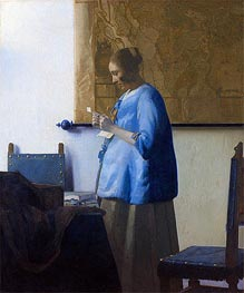 Woman Reading a Letter, c.1663/64 by Vermeer | Painting Reproduction