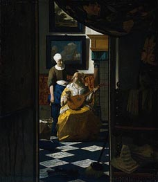 The Love Letter, c.1669/70 von Vermeer | Gemälde-Reproduktion
