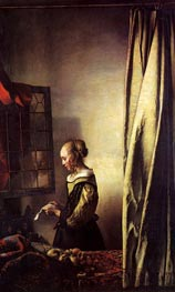 Girl Reading a Letter at an Open Window, c.1657 by Vermeer | Painting Reproduction