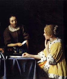 Mistress and Maid, c.1666/67 by Vermeer | Painting Reproduction