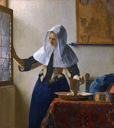 Young Woman with a Water Pitcher, c.1664/65 by Vermeer | Painting Reproduction