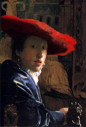 Girl with a Red Hat, c.1665/66 by Vermeer | Painting Reproduction