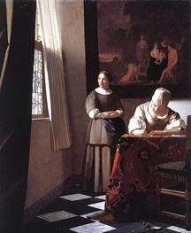 Lady Writing a Letter with Her Maid, c.1670 by Vermeer | Painting Reproduction