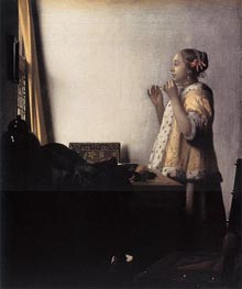 Woman with a Pearl Necklace, c.1664 by Vermeer | Painting Reproduction