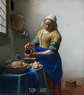 The Milkmaid (The Kitchen Maid), c.1658/60 | Vermeer | Painting Reproduction