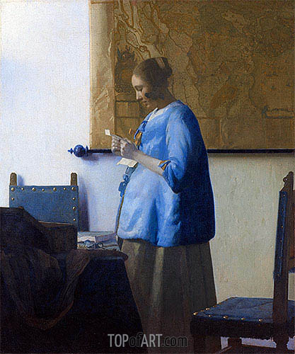 Woman Reading a Letter, c.1663/64 | Vermeer| Gemälde Reproduktion