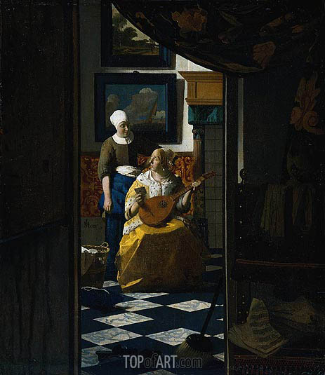 The Love Letter, c.1669/70 | Vermeer | Gemälde Reproduktion