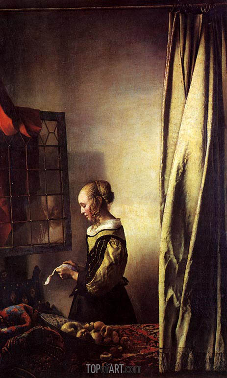 Girl Reading a Letter at an Open Window, c.1657 | Vermeer | Gemälde Reproduktion