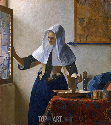 Young Woman with a Water Pitcher, c.1664/65 | Vermeer | Painting Reproduction