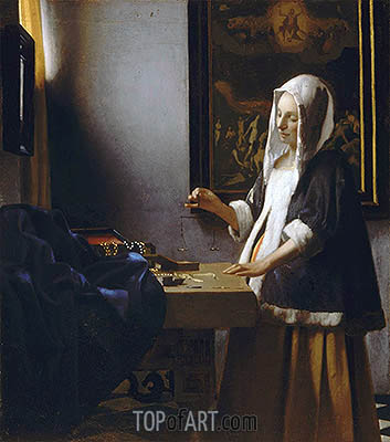 Vermeer | Woman Holding a Balance, c.1664