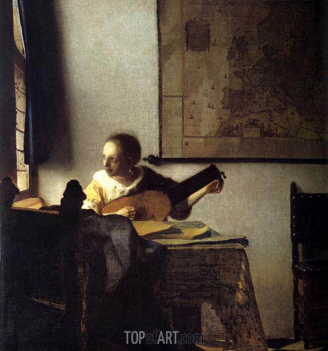 Woman with a Lute near a Window, c.1664 | Vermeer| Painting Reproduction