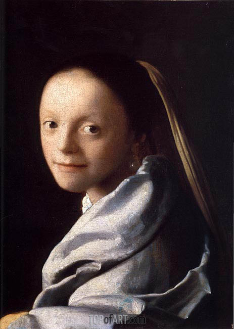 Portrait of a Young Woman, c.1667/68 | Vermeer| Gemälde Reproduktion