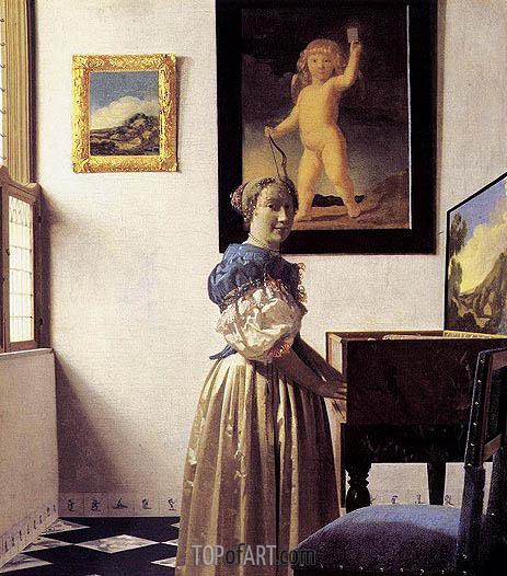 Vermeer | Young Woman Standing at a Virginal, c.1672/73